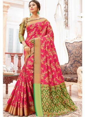 Self Design Heavy Banarasi Silk Pink Indian Saree