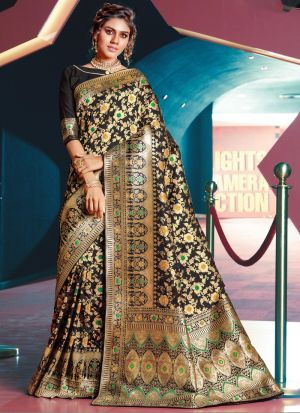 Self Design Jacquard Silk Black Indian Saree