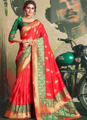 Self Design Jacquard Silk Red Indian Saree