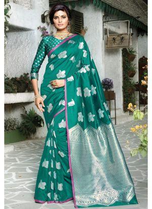 Self Design Paper Silk Dark Green Indian Saree