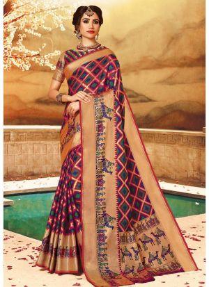 Self Design Pure Handloom Silk Multi Color Indian Saree