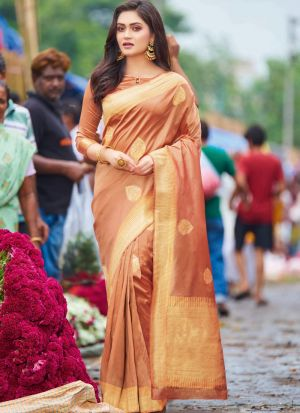 Self Design Pure Silk Peach Indian Saree
