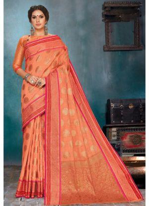 Self Design Soft Linen Silk Dark Peach Indian Saree