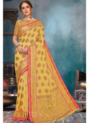 Self Design Soft Linen Silk Yellow Indian Saree