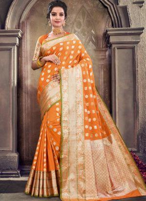 Self Design Soft Silk Yellow Indian Saree