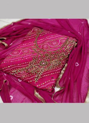 Sequence Dori Work Magenta Pink Bandhani Dress Material