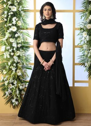 Sequence Embroidered Work Black Attractive Lehenga Choli