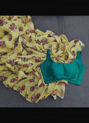 Sequence Work Georgette Yellow Saree