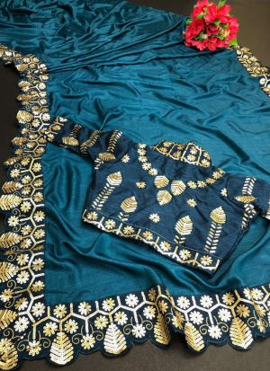 Sequence Work Saree In Teal Color