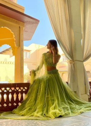 Shakti Mohan Lime Green Net Lehenga
