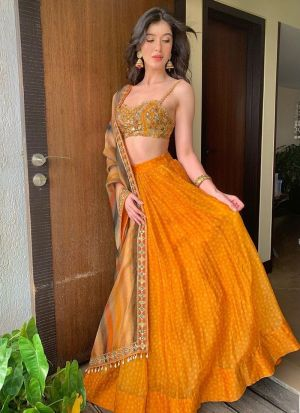 Shanaya Kapoor Orange Lehenga Choli
