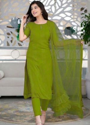 Shaurya Sanadhya Olive Green Salwar Suit