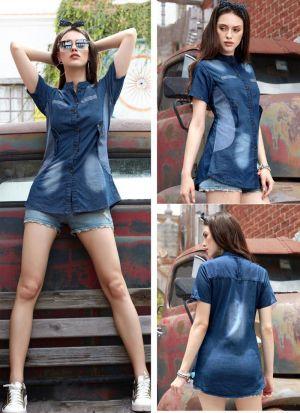 Shirt Style Denim Cotton Top