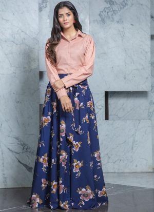 Shirt Style Plain Peach Crepe Navy Lehenga
