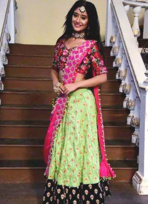 Shivangi Joshi Parrot Green Lehenga Choli