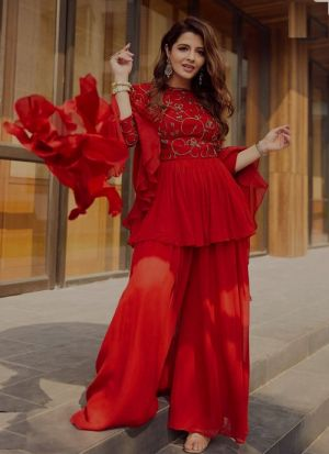 Show Stopper Red Embroidered Palazzo Suit