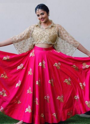 Shreemukhi Rani Taffeta Embroidered Crop Top Lehenga Choli With Amazing Blouse