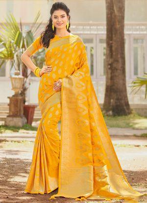 Silk Yellow Traditional Wedding Saree