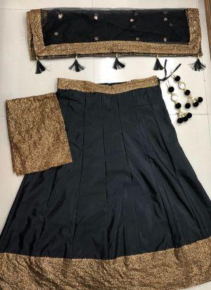 Simple Black Tafetta Silk Sequence Work Lehenga Choli
