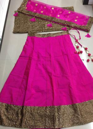 Simple Pink Tafetta Silk Sequence Work Lehenga Choli