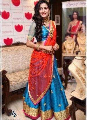 Sky Blue Banglori Silk Beautiful Lehenga Choli