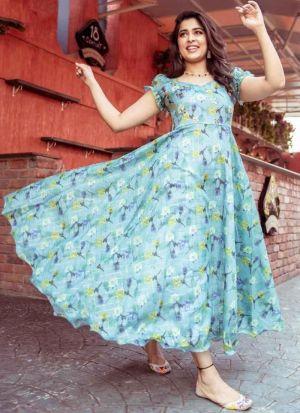 Sky Blue Chanderi Printed Dress