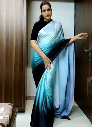 Sky Blue Digital Printed Saree