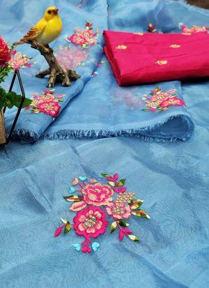Sky Blue Embroidered Heavy Organza Saree