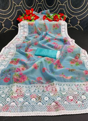 Sky Blue Flower Print Organza Saree