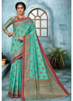 Sky Blue Linen Silk Traditional Saree Collection