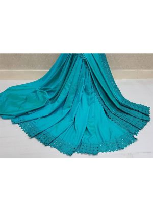 Sky Blue Makhan Malai Silk Heavy Embroidery Reniya Cutwork Designer Traditional Saree