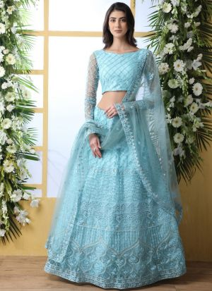 Sky Blue Net Attractive Party Wear Designer Lehenga Choli