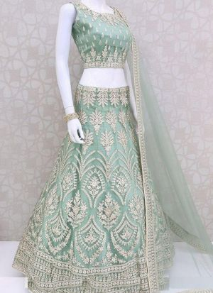 Sky Blue Net Embroidery Lehenga Choli