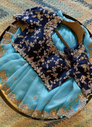 Sky Blue Organza Saree For Wedding