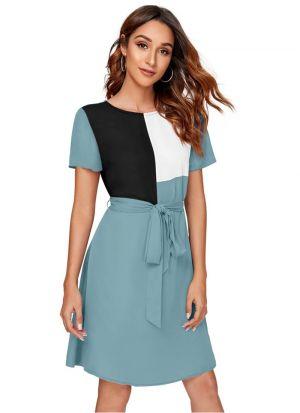 Sky Blue Polyester Party Wear Dress