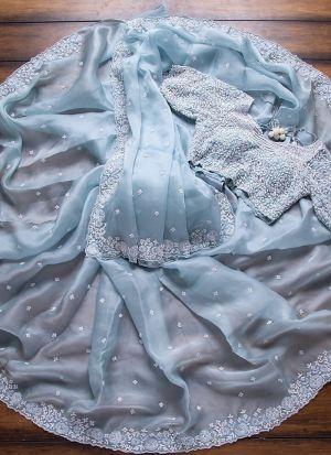Sky Blue Rajwadi Silk Stylish Saree For Women