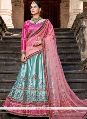Sky Blue Resham Embroidery Designer Lehenga Choli