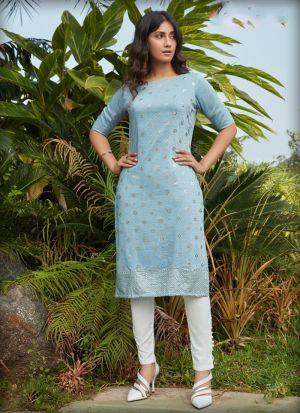 Sky Blue Silky Cotton Half Sleeves Kurti