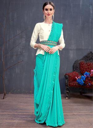 Sky Blue Soft Cotton Plain Party Wear Designer Saree