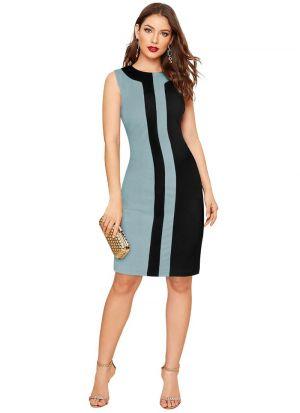 Sky Blue Striped Western Dress