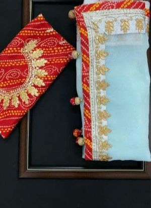 Sky Blue Thai Organza Silk Wedding Saree