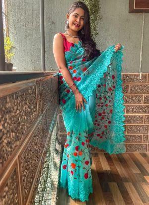 Sky Blue Thread Work Saree For Women