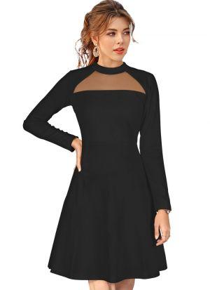 Sleeveless Black Knitted Short Dress