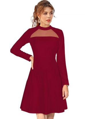 Sleeveless Maroon Knitted Short Dress