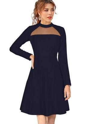 Sleeveless Navy Knitted Short Dress