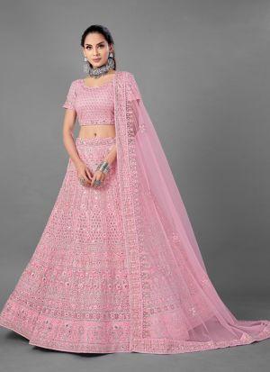 Soft Net Dori Work Pink Lehenga Choli