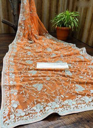 Soft Net Embroidery Work Orange Saree