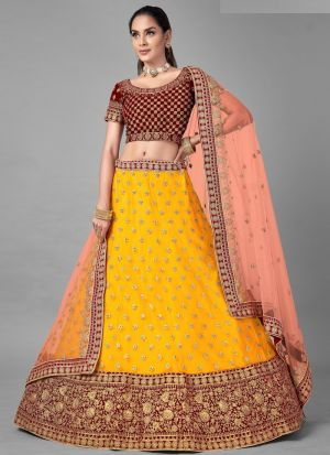 Soft Net Musturd Colour Lehenga Choli