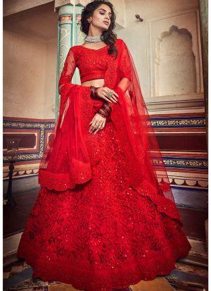 Soft Net Red Indian Lehenga Choli For Wedding