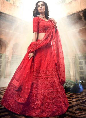 Soft Net Red Lehenga Choli For Wedding